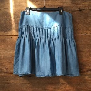 Pleated Chambray Miniskirt